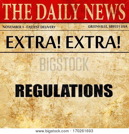 regulations, newspaper article text
