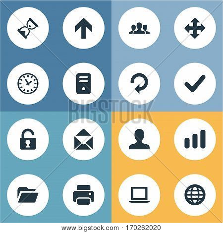 Set Of 16 Simple Apps Icons. Can Be Found Such Elements As Envelope, Open Padlock, Sand Timer.
