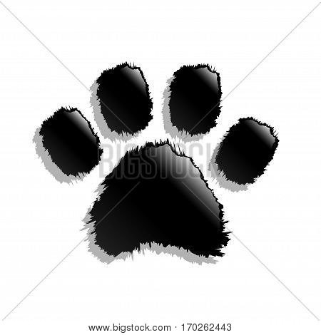 Illustration Black paw print on a white background.