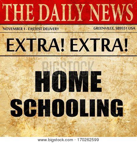 homeschooling, newspaper article text