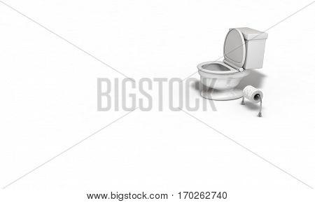 Water closet Toilet paper concpet 3d render