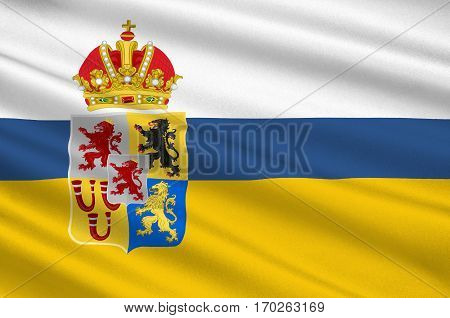 Flag of Limburg is the southernmost of the 12 provinces of the Netherlands. 3d illustration