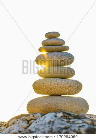 Stones balance and wellness retro spa concept inspiration beautiful landscape background zen-like