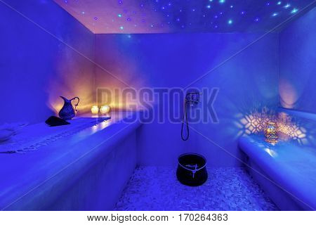 Interior of Turkish sauna, classic Turkish hammam at spa center. Spa, relaxation and resort health care center interior.