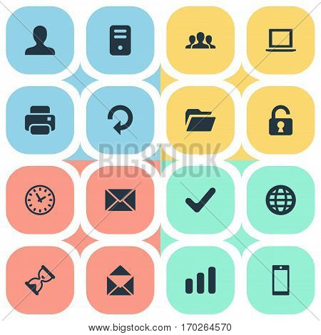 Set Of 16 Simple Practice Icons. Can Be Found Such Elements As Refresh, Computer Case, Printout And Other.