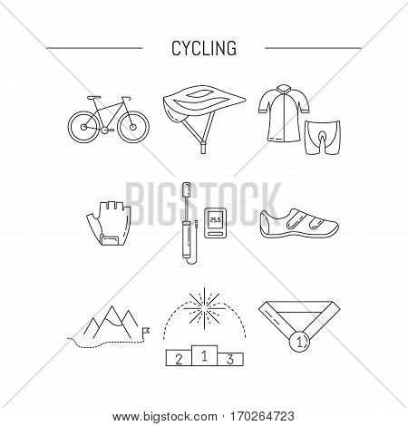Vector set of Cycling icons in trendy linear style. Cycle race sport elements