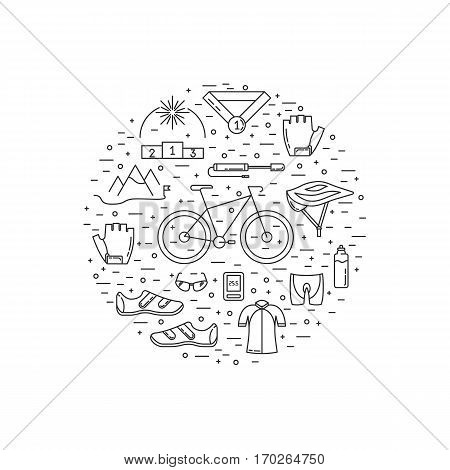 Vector set of Cycling icons in trendy linear style made in a shape of sircle. Cycle race sport elements