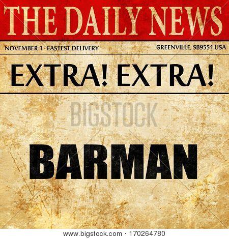 barman, newspaper article text
