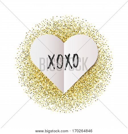 Vector banner with folded paper heart. Valentine's Day design. Xoxo lettering