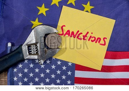Us Flag. European Community Flag. Sanctions Of Russian