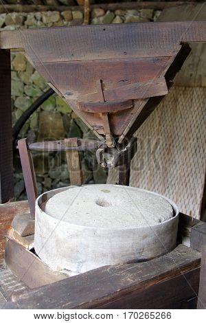 Old Millstone Mechanism In Bulgarian Watermill, Etar, Bulgaria