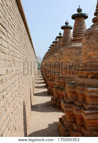 108 Dagobas, Ancient Buddhist Monument In Xiakou Mountains Near Yinchuan City, Ningxia Province Of C