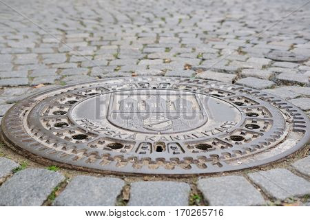 Prague, Czech - November, 24, 2016: drain cover in Prague, Czech