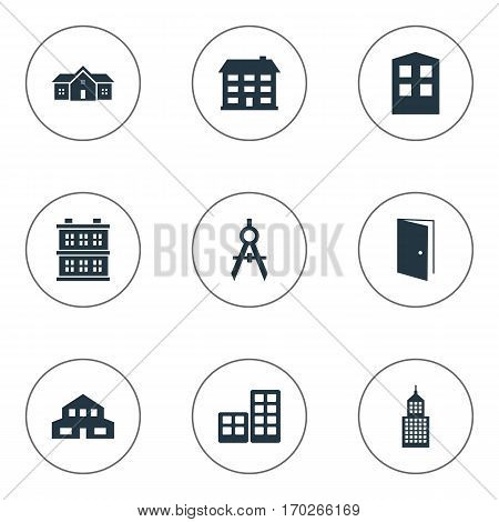 Set Of 9 Simple Structure Icons. Can Be Found Such Elements As Engineer Tool, Flat, Residence And Other.