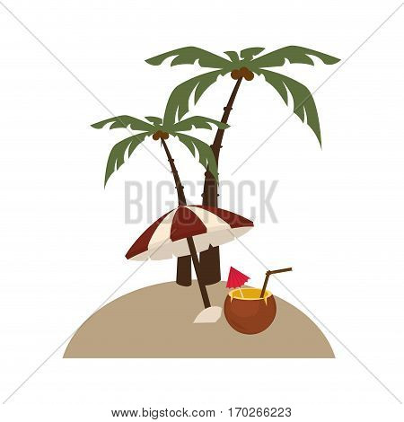 background island with palms and cocktail coco and umbrella vector illustration