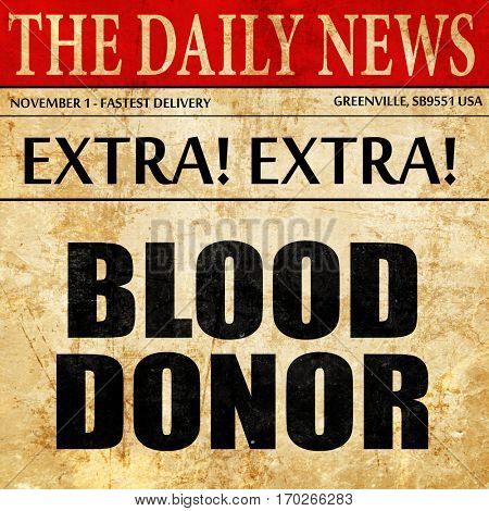 blood donor, newspaper article text