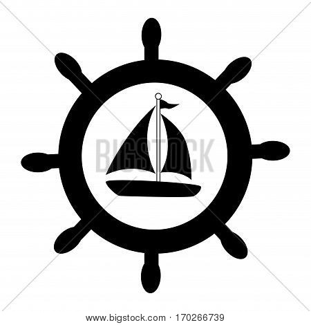 silhouette boat rudder with yacht vector illustration