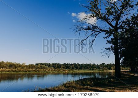 The River With A Quiet Current And Clouds Reflected In It, Soz , Gomel, Belarus