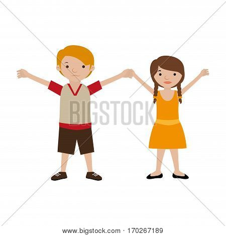 couple of kids togheter in casual clothes vector illustration