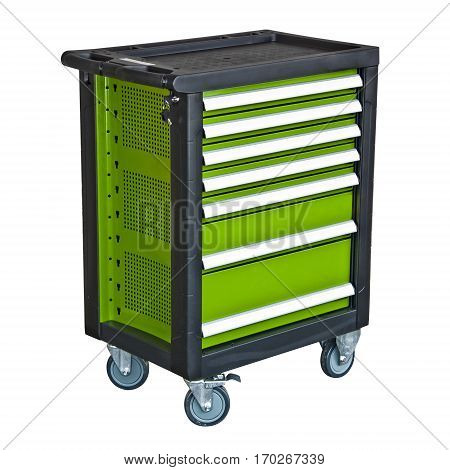Green mobile tool's trolley isolated under the white background
