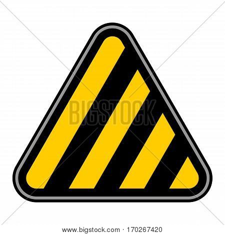 Use it in all your designs. Quick and easy recolorable vector illustration. Triangle hazard, attention, warning, danger sign with diagonal warning stripes. Triangular shape sticker with barricade tape