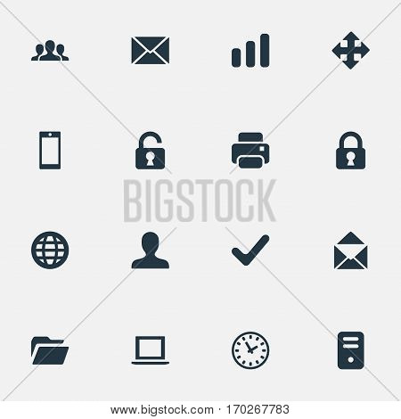 Set Of 16 Simple Application Icons. Can Be Found Such Elements As Computer Case, Dossier, Notebook And Other.