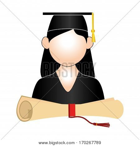 half body woman graduate outfit and certificate of graduation vector illustration
