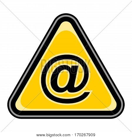 Use it in all your designs. Quick and easy recolorable vector illustration. Yellow and black triangular sticker with commercial at symbol. Triangle hazard, warning, danger sign