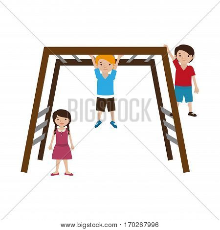 colorful playground with stair rail and kids vector illustration