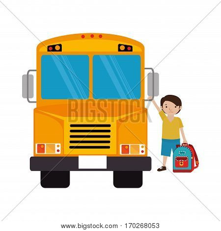 colorful silhouette with school bus with student boy vector illustration