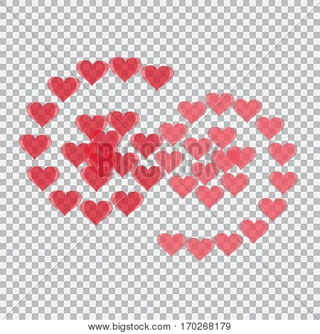 Red hearts translucent arranged in the form of numbers 69. Checker background. Valentine's Day. Vector illustration