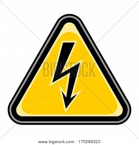 Use it in all your designs. Quick and easy recolorable vector illustration. Yellow and black triangular sticker with high voltage lightning sign. Triangle hazard, warning, danger symbol