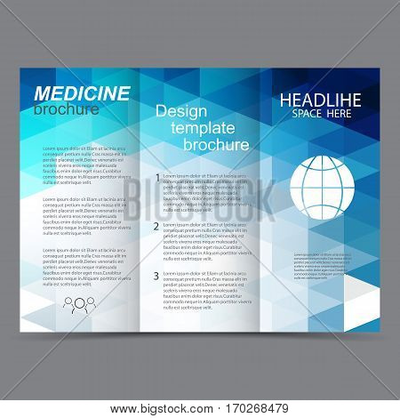 brochure design template tri-fold vector abstract triangles