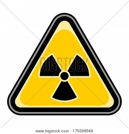 Use it in all your designs. Quick and easy recolorable vector illustration. Yellow and black triangular sticker with ionising radiation sign. Triangle hazard, warning, danger symbol