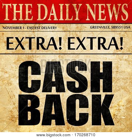 cash back, newspaper article text