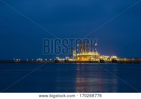SWINOUJSCIE - Termoinal LNG at night lit lanterns