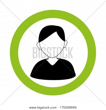 circular border with silhouette informal man vector illustration