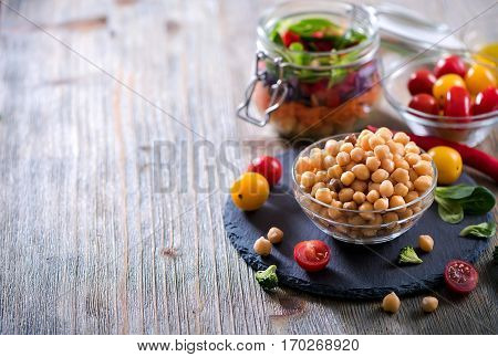 Chickpeas and veggies for cooking diet vegetarian vegan food.