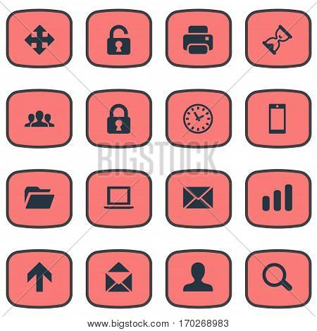 Set Of 16 Simple Application Icons. Can Be Found Such Elements As Printout, Arrows, Message And Other.