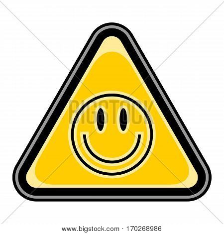 Use it in all your designs. Quick and easy recolorable vector illustration. Yellow and black triangular sticker with smiley face sign. Triangle hazard, warning, danger symbol