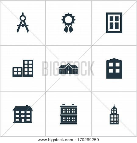 Set Of 9 Simple Architecture Icons. Can Be Found Such Elements As Flat, Residence, Reward And Other.