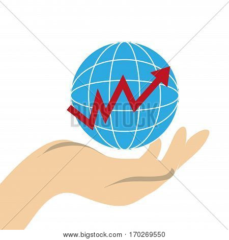 hand holding a map world with line with rising arrow vector illustration