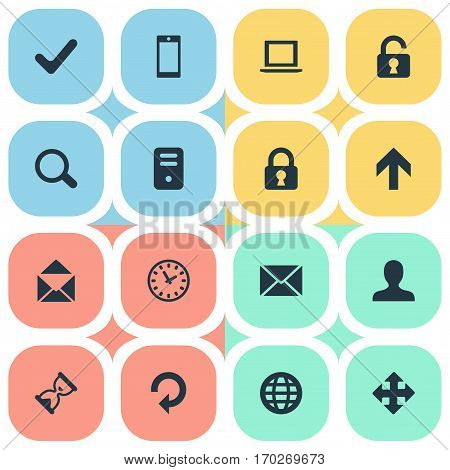 Set Of 16 Simple Practice Icons. Can Be Found Such Elements As Arrows, Open Padlock, Web And Other.