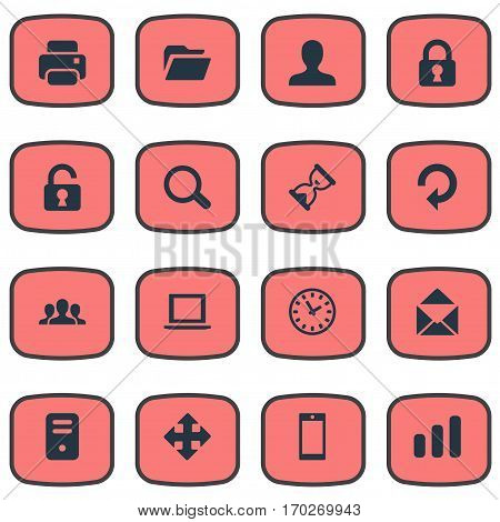 Set Of 16 Simple Apps Icons. Can Be Found Such Elements As Magnifier, Printout, User And Other.