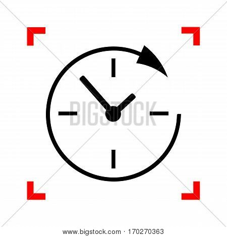 Service and support for customers around the clock and 24 hours. Black icon in focus corners on white background. Isolated.