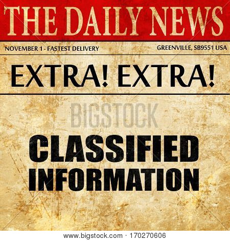 classified information, newspaper article text