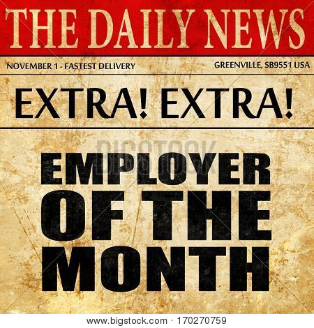 employer of the month, newspaper article text