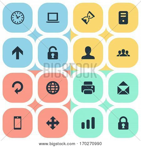 Set Of 16 Simple Practice Icons. Can Be Found Such Elements As Computer Case, Open Padlock, Printout And Other.