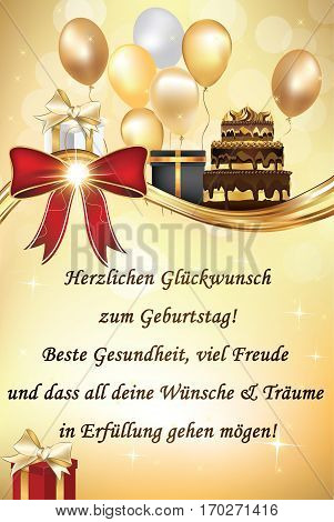 German Happy Birthday greeting card with balloons and cake. German text: May you be healthy, have a lot of friends and all your dreams be fulfilled! Print colors used. Size of a standard postcard