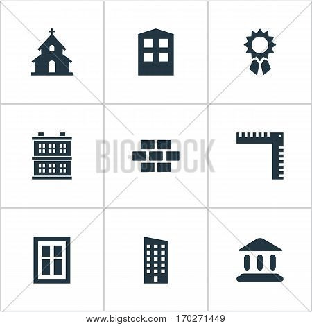 Set Of 9 Simple Architecture Icons. Can Be Found Such Elements As Stone, Popish, Block And Other.